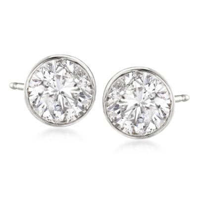 2.00 ct. t.w. Bezel-Set Diamond Stud Earrings in 14kt White Gold
