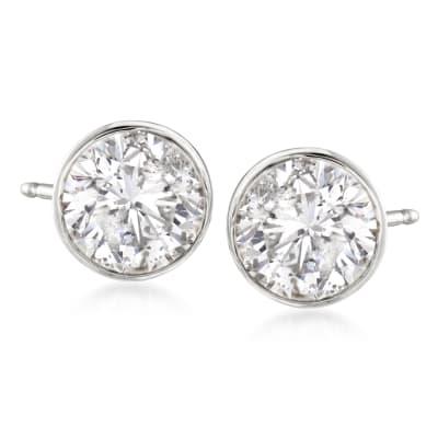 2.00 ct. t.w. Bezel-Set Diamond Stud Earrings in 14kt White Gold