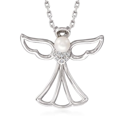 3.5mm Cultured Pearl Angel Pendant Necklace with Diamond Accents in Sterling Silver