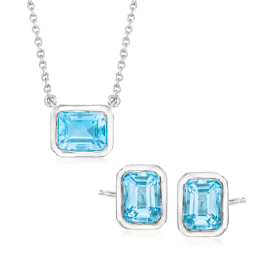 6.60 ct. t.w. Sky Blue Topaz Jewelry Set: Emerald-Cut Earrings and Necklace in Sterling Silver