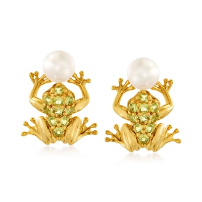 6-6.5mm Cultured Pearl and .70 ct. t.w. Peridot Frog Earrings in 18kt Gold Over Sterling