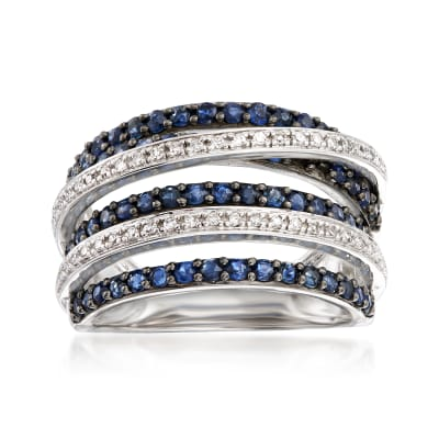 1.00 ct. t.w. Sapphire and .15 ct. t.w. Diamond Highway Ring in Sterling Silver