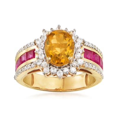 1.90 Carat Citrine, 1.00 ct. t.w. Ruby and .50 ct. t.w. White Zircon Ring in 18kt Gold Over Sterling