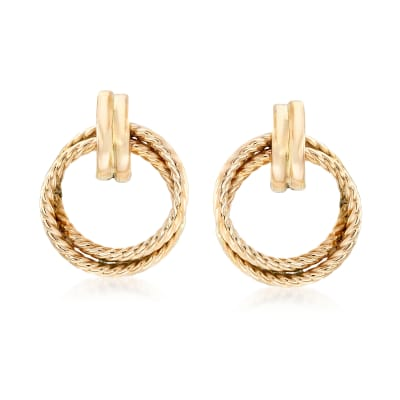 14kt Yellow Gold Twisted Double Open Circle Drop Earrings
