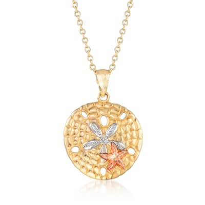 14kt Tri-Colored Gold Sand Dollar and Starfish Pendant Necklace