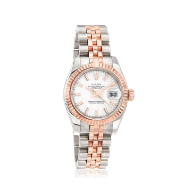 Pre-Owned Rolex Datejust Women's 26mm Automatic Stainless Steel Watch with 18kt Rose Gold