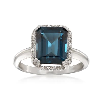 3.50 Carat London Blue Topaz Ring with Diamond Accents in Sterling Silver