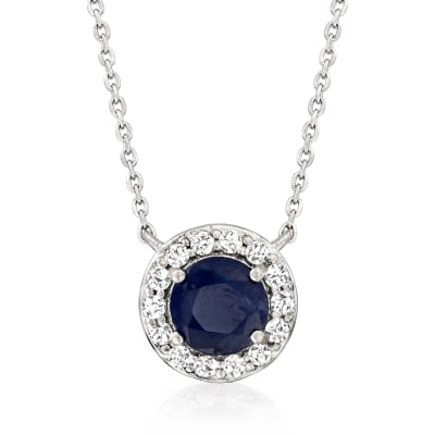 1.00 Carat Sapphire and .20 ct. t.w. Diamond Pendant Necklace in 14kt White Gold