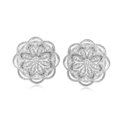 .50 ct. t.w. Diamond Openwork Flower Earrings in Sterling Silver