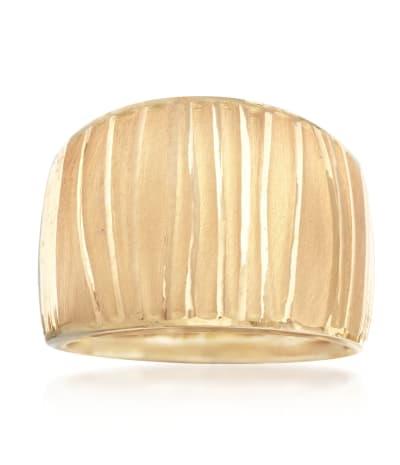 Italian 18kt Yellow Gold Wide Ripple Ring