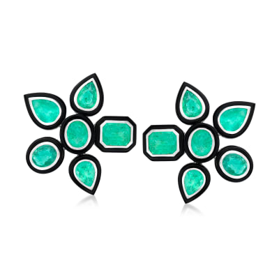 11.00 ct. t.w. Emerald and Black Agate Flower Earrings in 18kt White Gold
