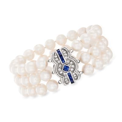 C. 1980 Vintage 7.5mm Cultured Pearl, 1.75 ct. t.w. Sapphire and .75 ct. t.w. Diamond Three-Row Bracelet in 14kt White Gold