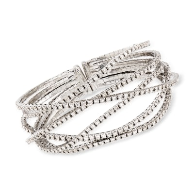 7.65 ct. t.w. Diamond Crisscross Bracelet in 18kt White Gold