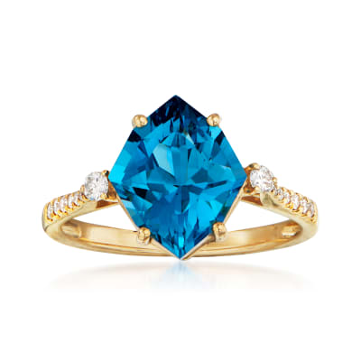 4.00 Carat London Blue Topaz and .16 ct. t.w. Diamond Ring in 14kt Yellow Gold
