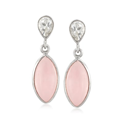 10.20 ct. t.w. Rose Quartz and 1.60 ct. t.w. White Topaz Drop Earrings in Sterling Silver
