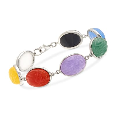 Multicolored Jade Scarab Bracelet in Sterling Silver