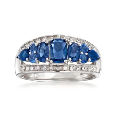 1.20 ct. t.w. Simulated Sapphire and .15 ct. t.w. CZ Ring in Sterling Silver