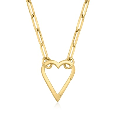 14kt Yellow Gold Heart Paper Clip Link Necklace