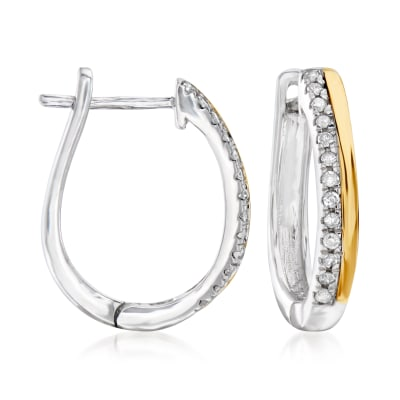 .10 ct. t.w. Diamond Hoop Earrings in 14kt Yellow Gold and Sterling Silver
