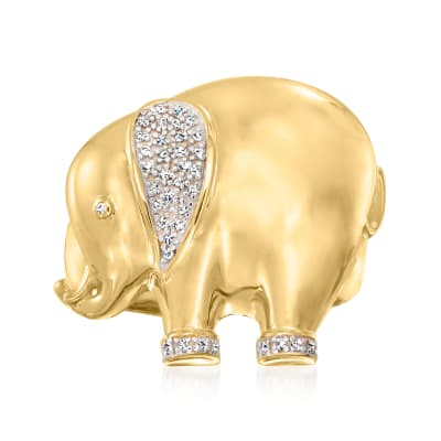 .10 ct. t.w. Diamond Elephant Ring in 18kt Gold Over Sterling