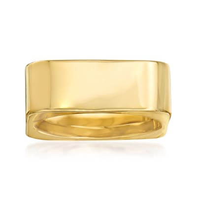 Italian 14kt Yellow Gold Square Ring
