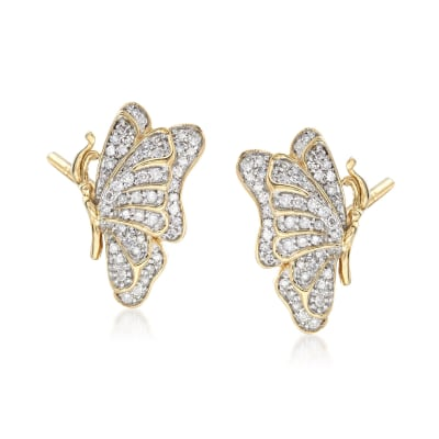 .33 ct. t.w. Diamond Butterfly Earrings in 14kt Gold Over Sterling