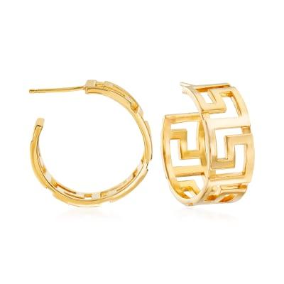 Italian 18kt Yellow Gold Over Sterling Silver Greek Key Hoop Earrings
