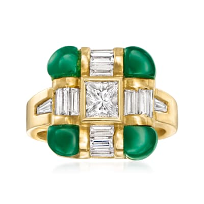 C. 1980 Vintage Green Chrysoprase and 1.69 ct. t.w. Diamond Ring in 18kt Yellow Gold