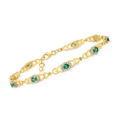 2.07 ct. t.w. Green Alexandrite and .71 ct. t.w. Diamond Bracelet in 18kt Yellow Gold