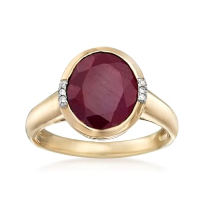 5.00 Carat Ruby Ring with Diamond Accents in 14kt Yellow Gold
