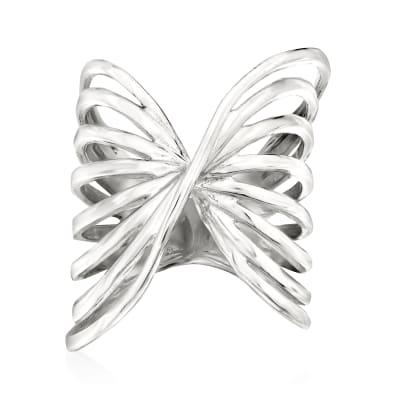 Italian Sterling Silver Openwork Twist Ring