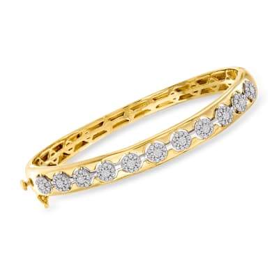 1.00 ct. t.w. Diamond Cluster Bangle Bracelet in 14kt Two-Tone Gold