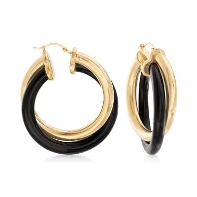 Andiamo 14kt Yellow Gold Over Resin and Black Onyx Hoop Earrings