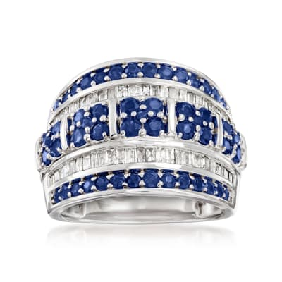 1.40 ct. t.w. Sapphire and .60 ct. t.w. Diamond Multi-Row Ring in Sterling Silver