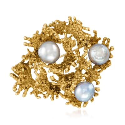 C. 1960 Vintage 9.5-10mm Gray Cultured South Sea Pearl and Textured 18kt Yellow Gold Pin