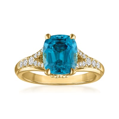 5.25 Carat Blue Zircon Ring with .20 ct. t.w. Diamonds in 14kt Yellow Gold