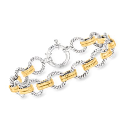 Two-Tone Sterling Silver Twisted Circle-Link Bracelet