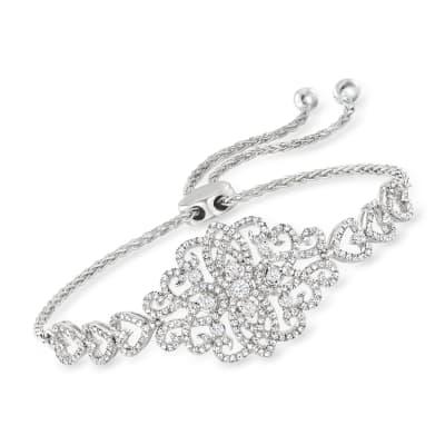 1.00 ct. t.w. Diamond Filigree Heart Bolo Bracelet in Sterling Silver