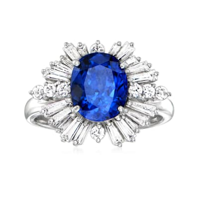 C. 1990 Vintage 3.12 Carat Sapphire Ring with .97 ct. t.w. Diamonds in Platinum
