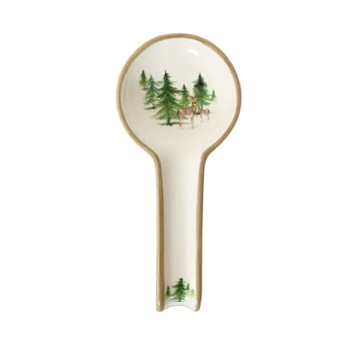 "Abbiamo Tutto ""Woodlands"" Ceramic Spoon Rest from Italy"
