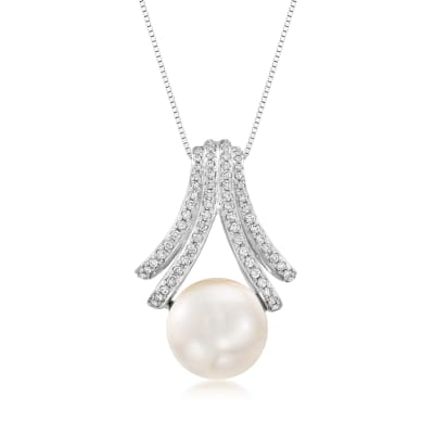 Cultured South Sea Pearl and .39 ct. t.w. Diamond Pendant Necklace in 18kt White Gold