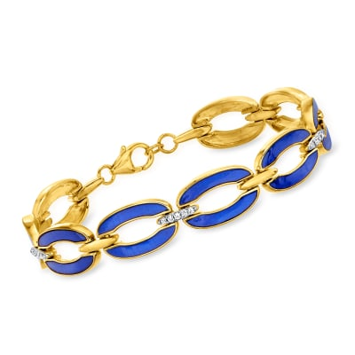 .26 ct. t.w. Diamond and Blue Enamel Link Bracelet in 18kt Gold Over Sterling