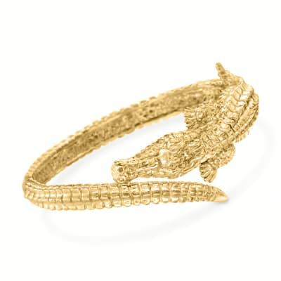 Italian 18kt Yellow Gold Alligator Bangle Bracelet