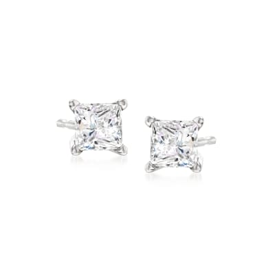 .50 ct. t.w. Princess-Cut Diamond Stud Earrings in 14kt White Gold