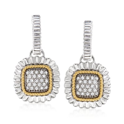 .15 ct. t.w. Diamond Rope-Edge Drop Earrings in Sterling Silver and 14kt Yellow Gold