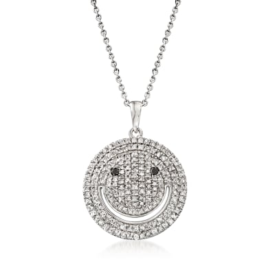 1.00 ct. t.w. Diamond Smiley Face Pendant Necklace in Sterling Silver