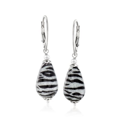 Italian Zebra Murano Drop Earrings in Sterling Silver