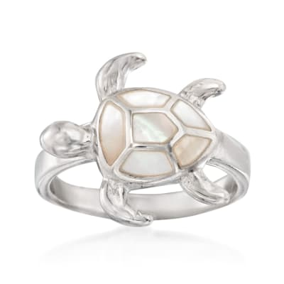 Mother-Of-Pearl Sea Turtle Ring in Sterling Silver