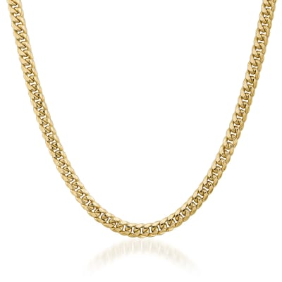 Men's 6.7mm 14kt Yellow Gold Cuban-Link Chain Necklace