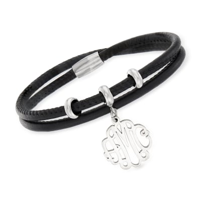 Sterling Silver Monogram Charm Double-Wrap Black Leather Bracelet